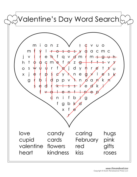 Valentines Day Word Search Answer Key
