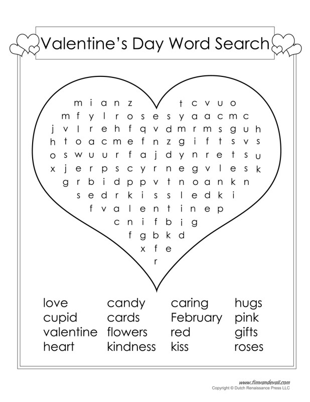 Valentines day word search