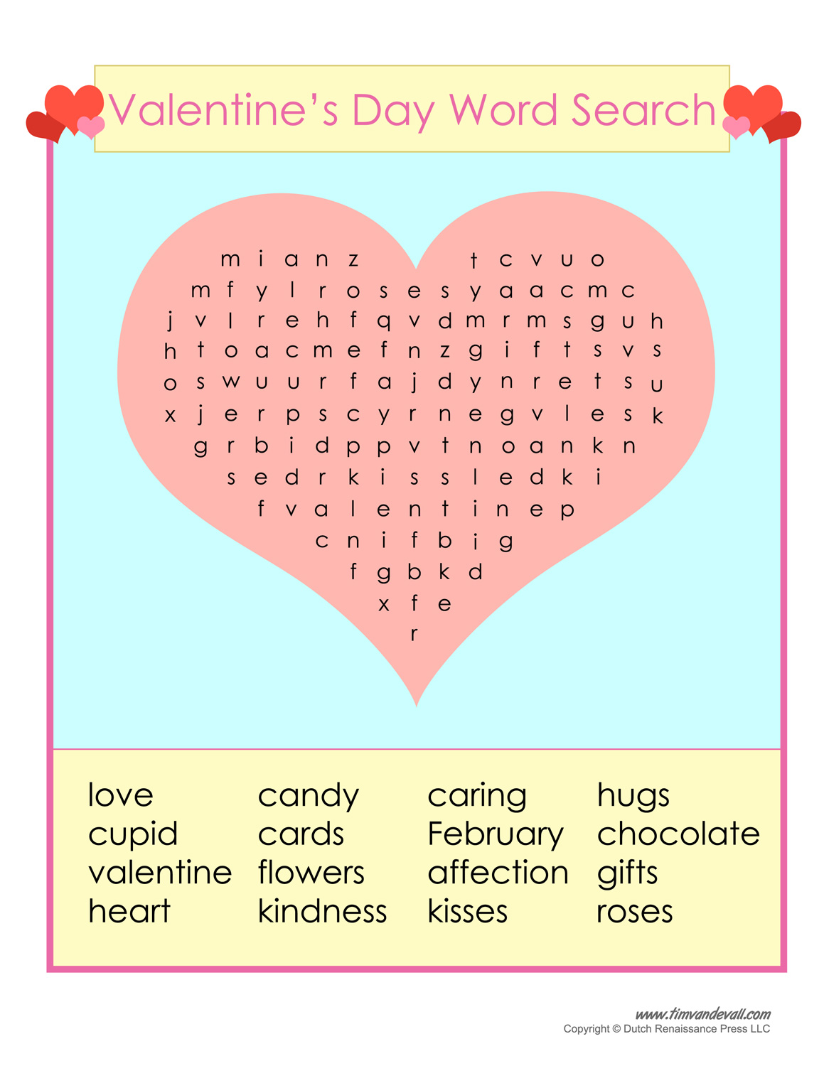 Free Valentines Day Word Search Printable