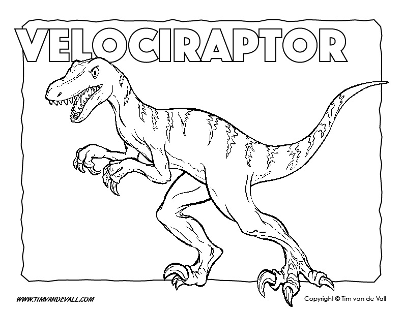 Velociraptor Coloring Page - Dinosaur Coloring Pages - Tim\'s Printables