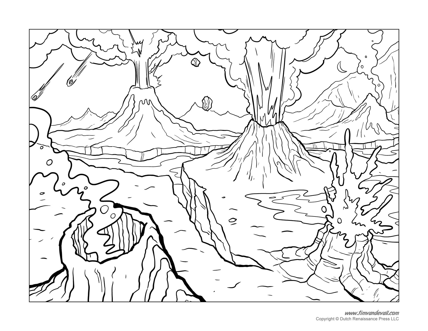 coloring pages volcano - photo #20