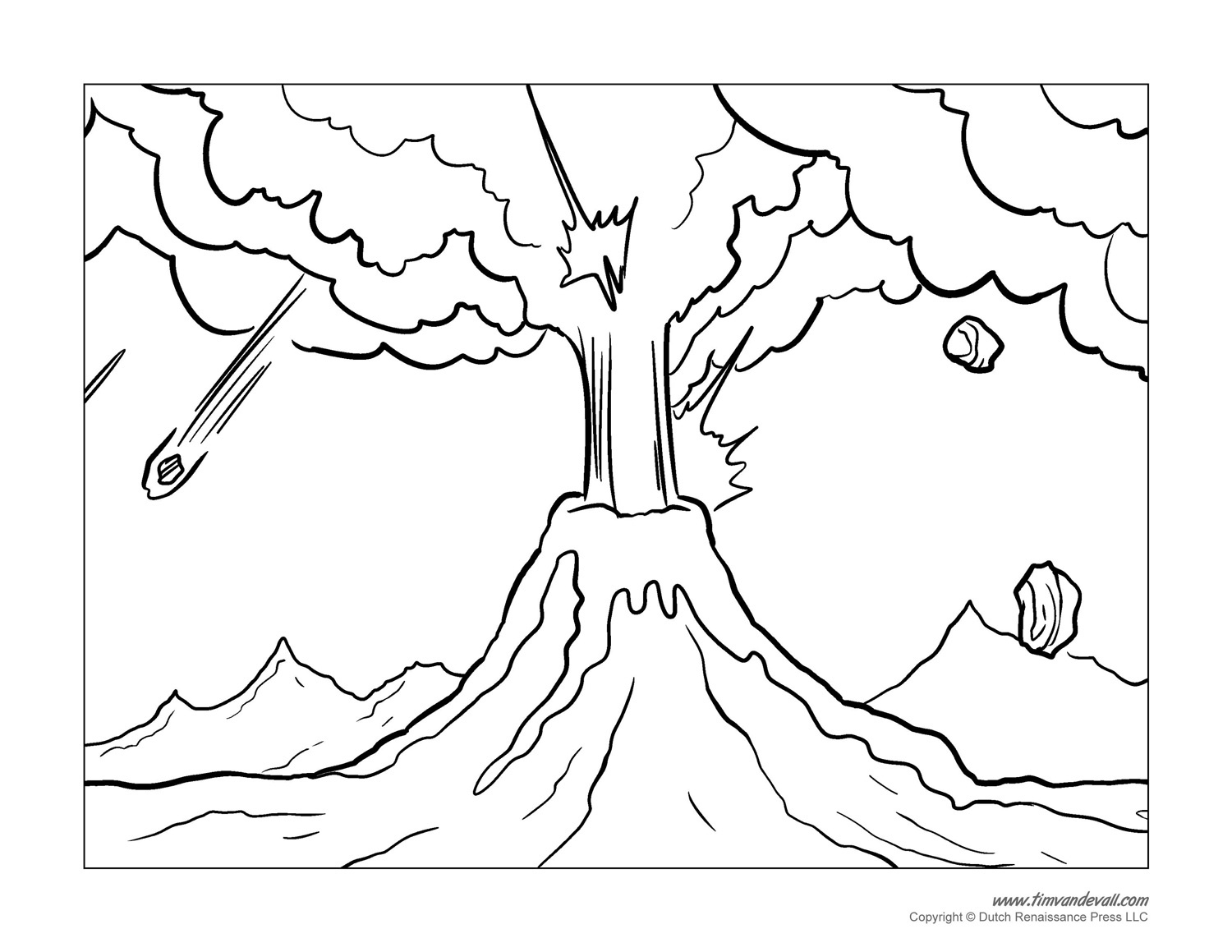 Line Drawing Volcano : Volcano coloring pages