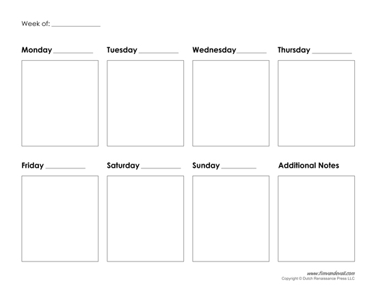 Blank Calendar With Days Of The Week : Printable weekly calendar template free blank pdf
