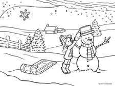 Winter Coloring Page - Building a Snowman