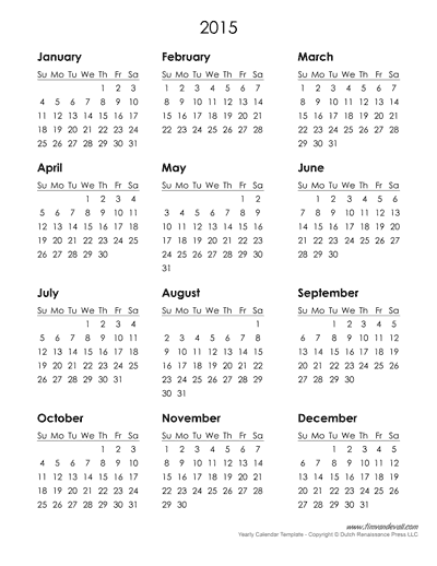 Yearly Calendar Template Tims Printables